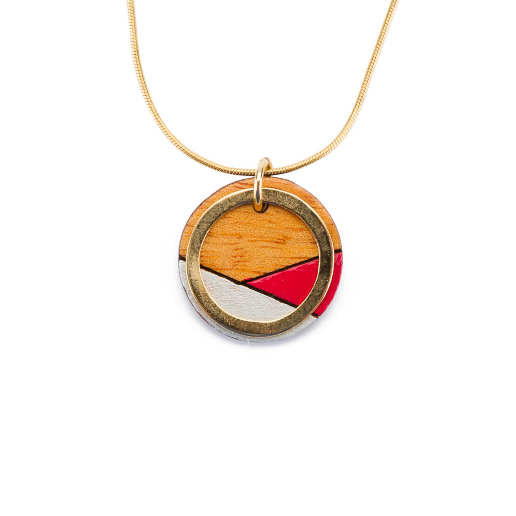 Conture Recycled Wood with Gold Chain Handmade Necklace