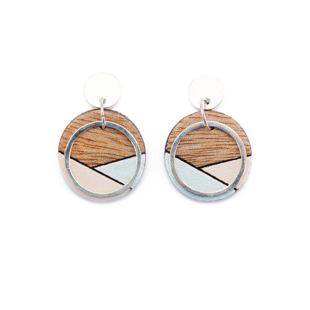 Conture Recycled Wood Sterling Silver Earrings (6 colours available) by Paguro Upcycle