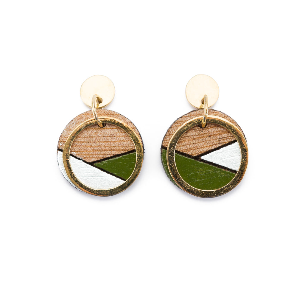 Conture Recycled Wood Gold Plated Handmade Earrings