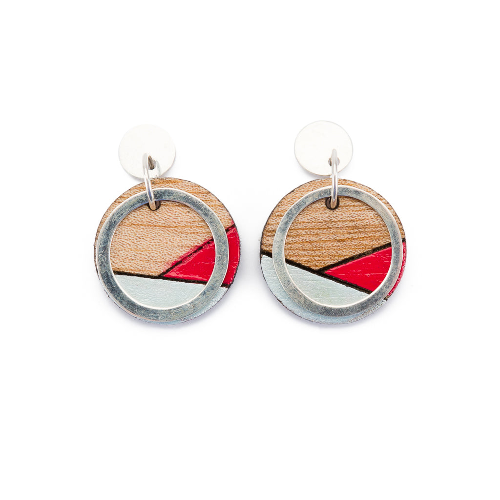 Conture Recycled Wood Sterling Silver Earrings (6 colours available)