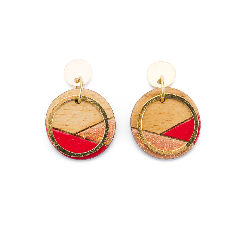 Conture Recycled Wood Gold Plated Earrings (4 Colours Available) by Paguro Upcycle