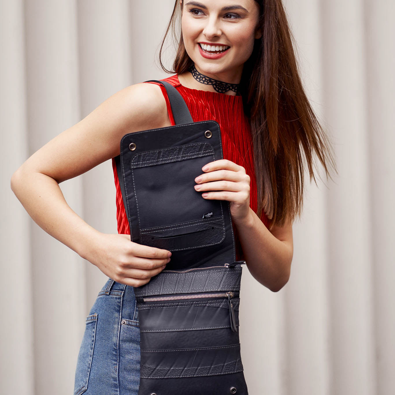 Spencer Recycled Rubber Vegan Crossbody Bag (3 Sizes Available) by Paguro Upcycle