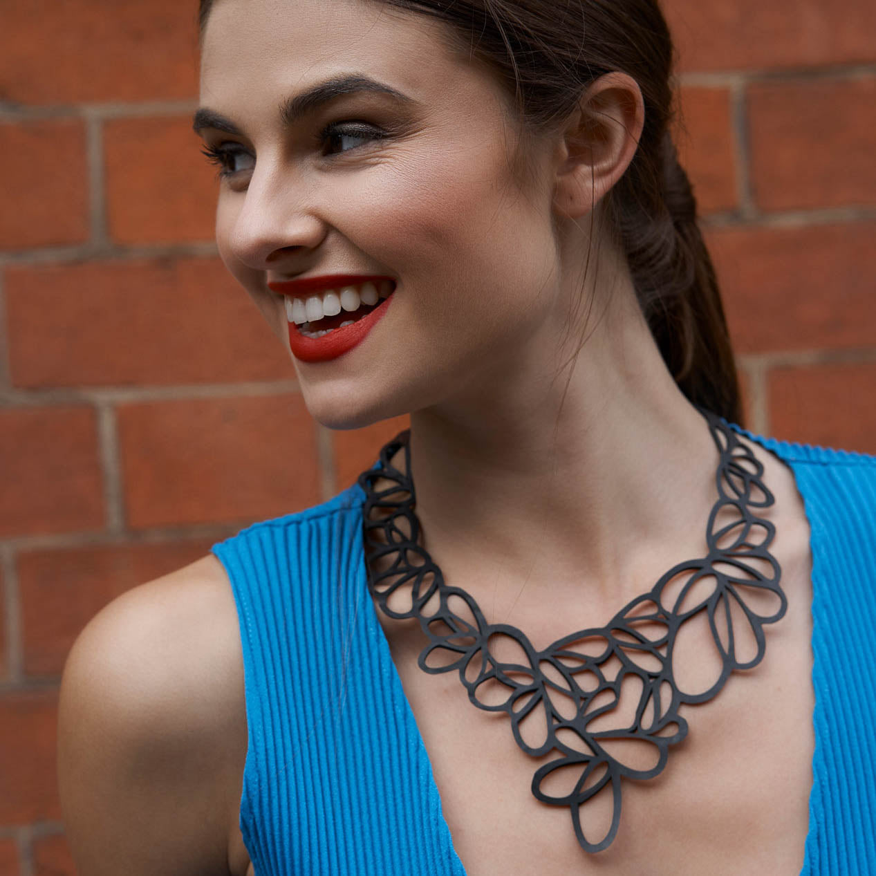 Lilac Statement Inner Tube Necklace by Paguro Upcycle