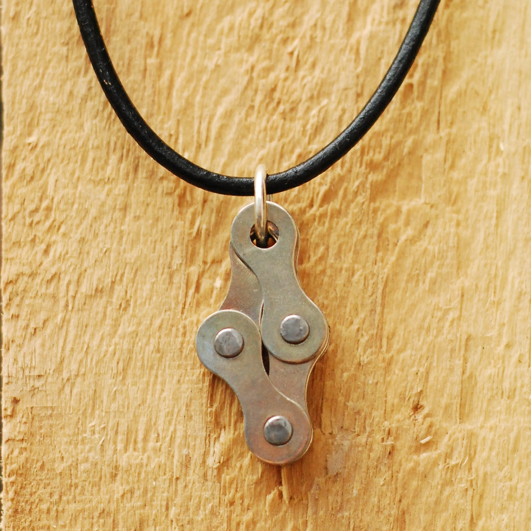 Diamond Recycled Bike Chain Pendant Necklace