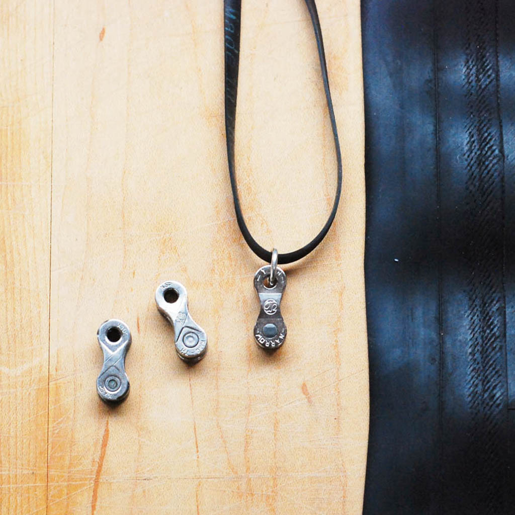 Lone Rider Recycled Bike Chain Pendant Necklace