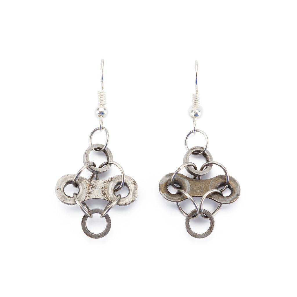 Diamond Stainless Steel Bicycle Chain Earrings - perfect gift for cyclists