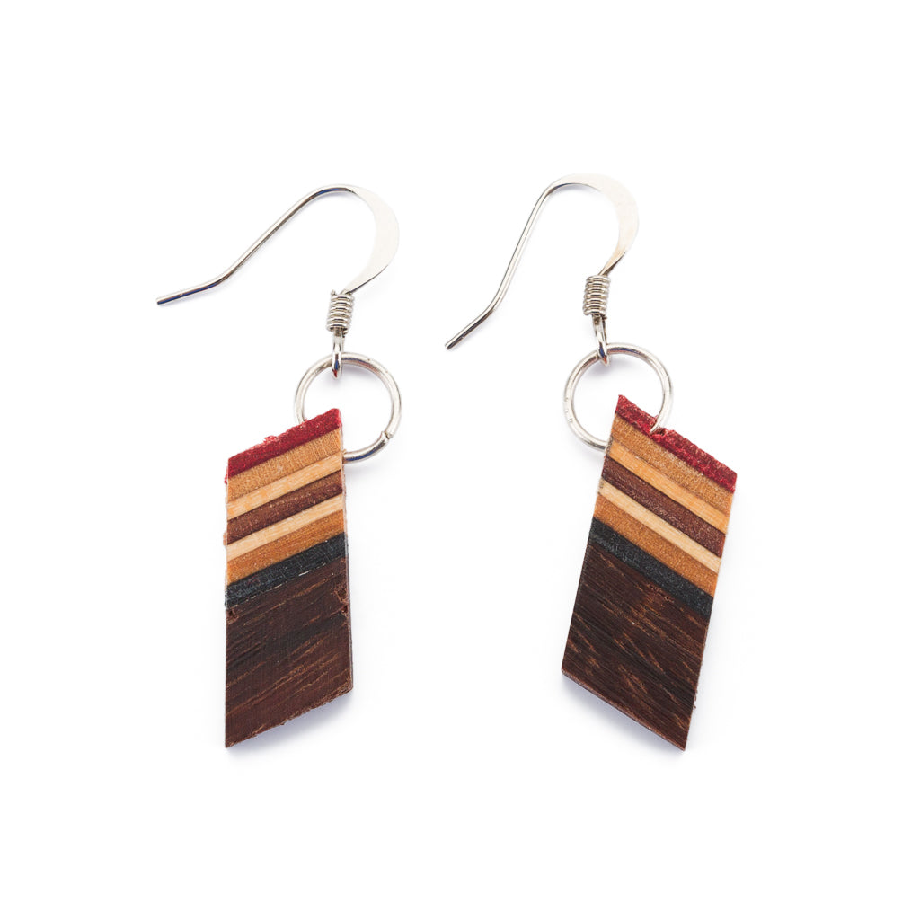 Genjang Recycled Skateboard Dangle Earrings by Paguro Upcycle