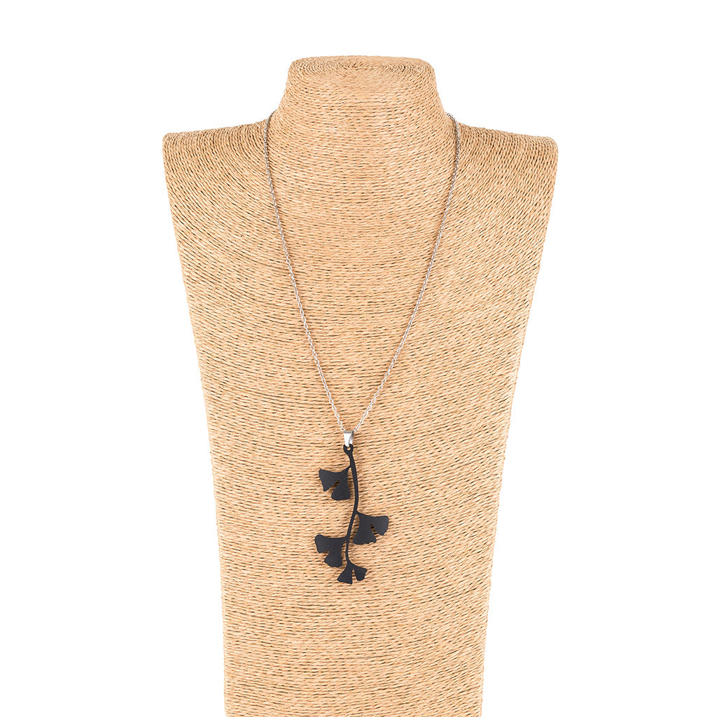 Handmade Ginkgo Leaf Pendant Necklace by Paguro Upcycle