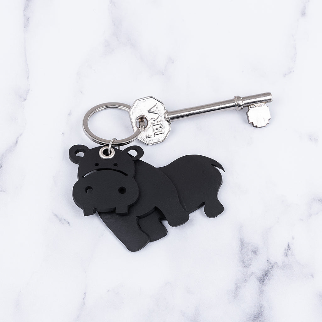 Hippo 3D Recycled Rubber Vegan Keyring by Paguro Upcycle