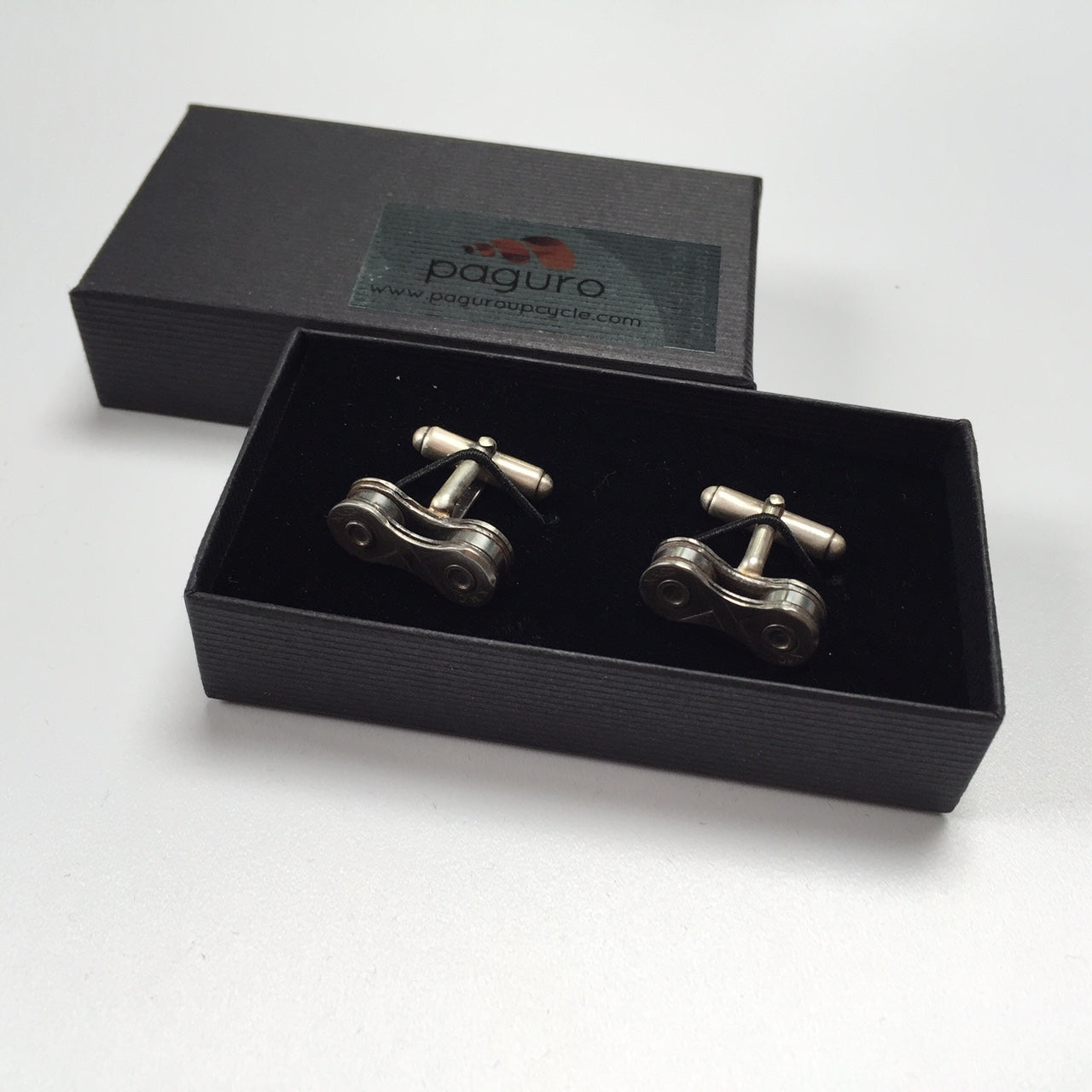 Recycled Bicycle Chain Cufflinks (3 Colours Available) by Paguro Upcycle