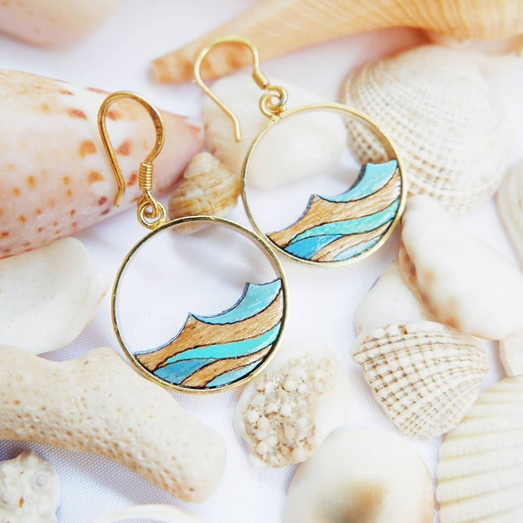 Ocean Eco-friendly Recycled Wood Gold Earrings by Paguro Upcycle