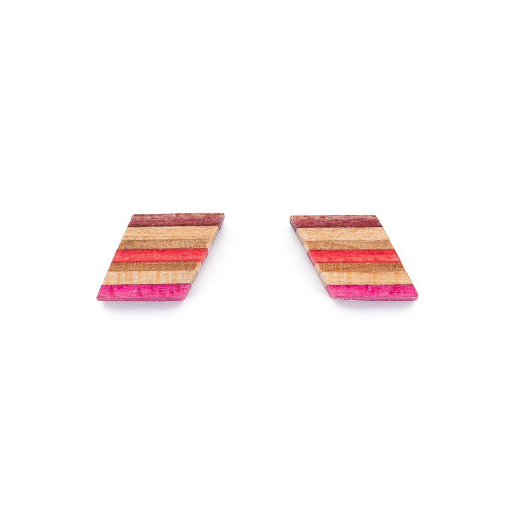Kite Recycled Skateboard Wooden Stud Earrings by Paguro Upcycle