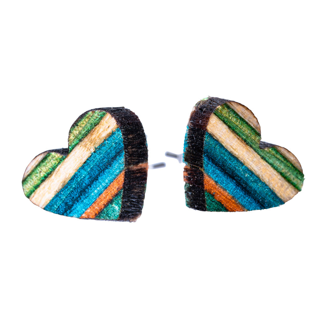 Love Heart Recycled Skateboard Wooden Stud Earrings by Paguro Upcycle