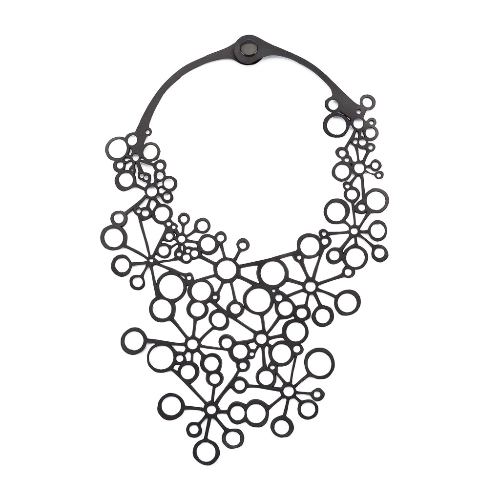 Octa Handcraft Black Statement Necklace by Paguro Upcycle