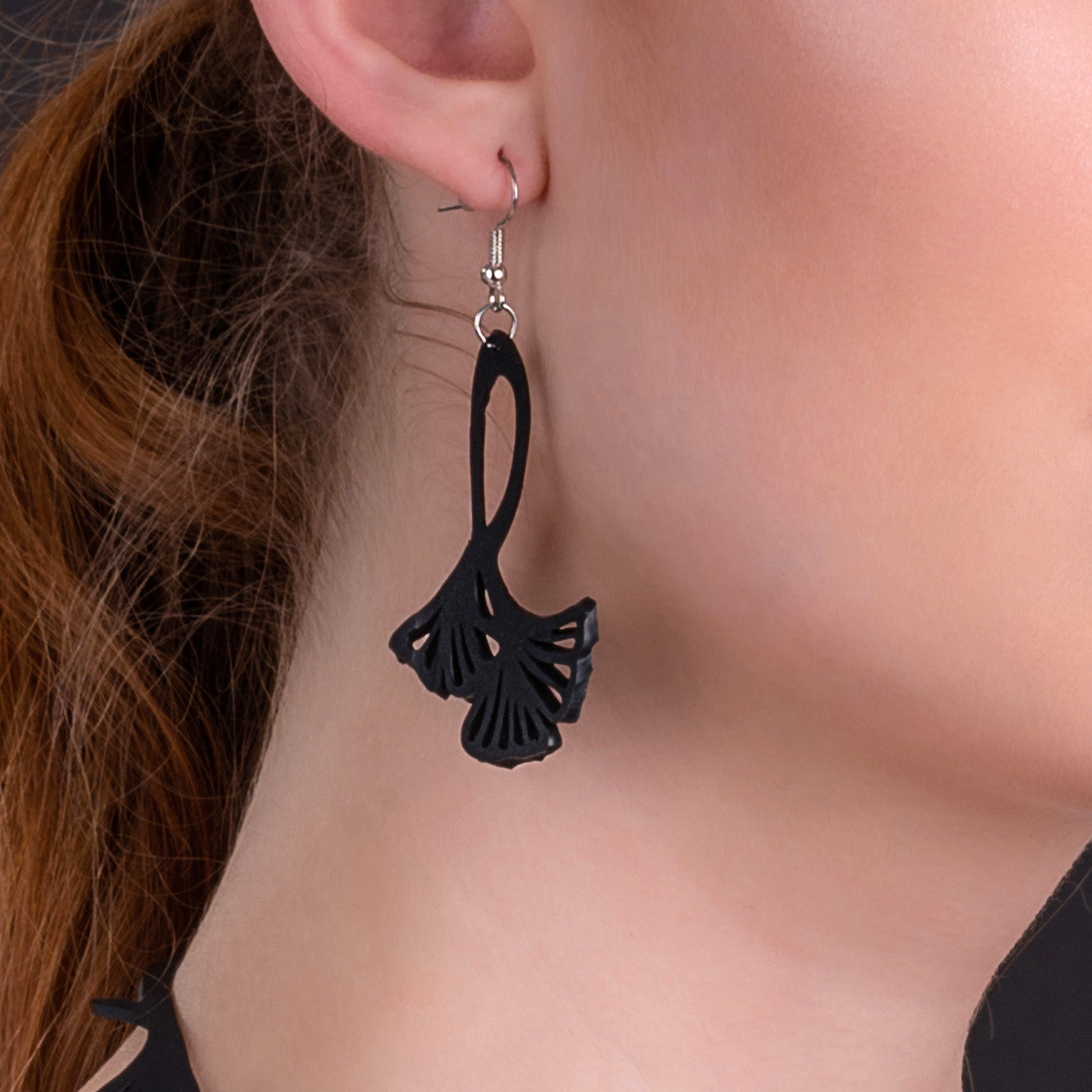 Fan Leaf Recycle Rubber Clover Earrings by Paguro Upcycle
