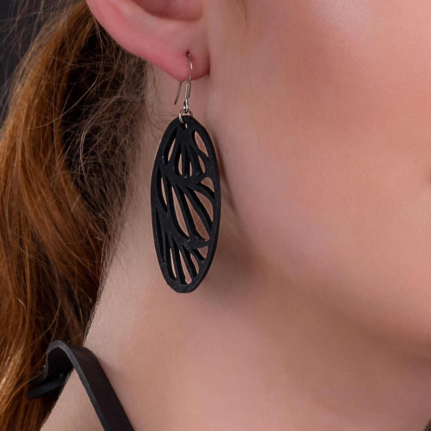 Seraphine (III) Recycled Rubber Oval Earrings by Paguro Upcycle