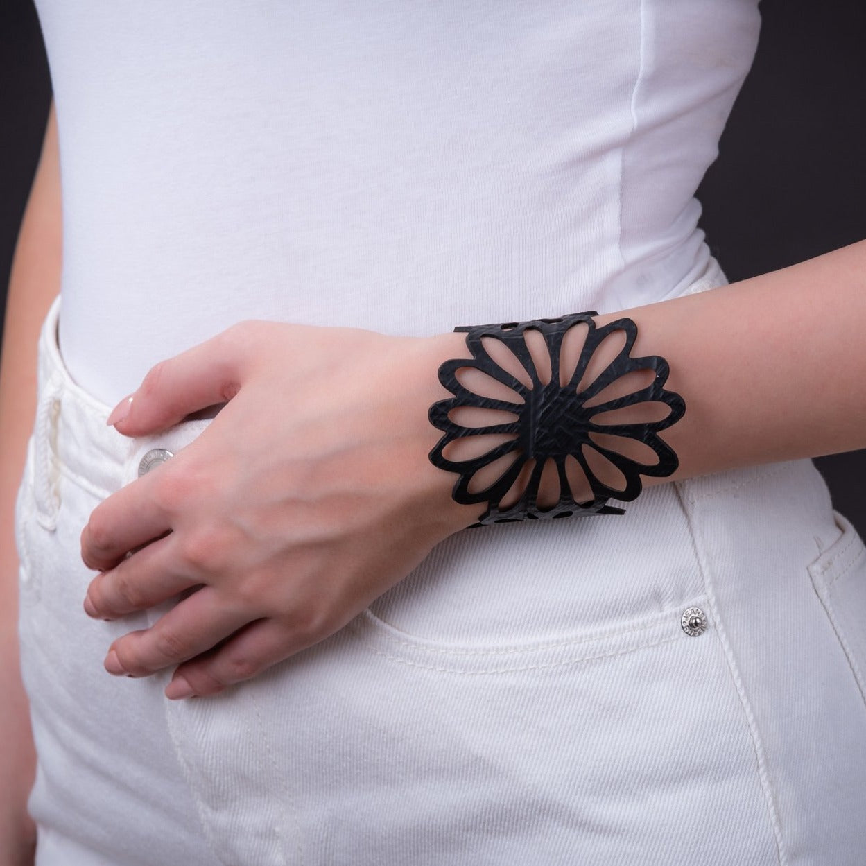 Dahlia Recycled Rubber Bracelet by Paguro Upcycle