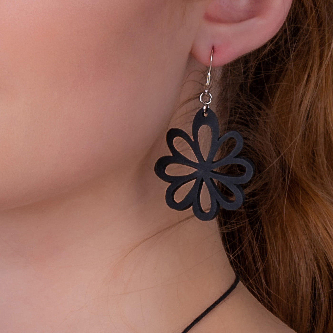Dahlia Flower Recycled Rubber Earrings by Paguro Upcycle