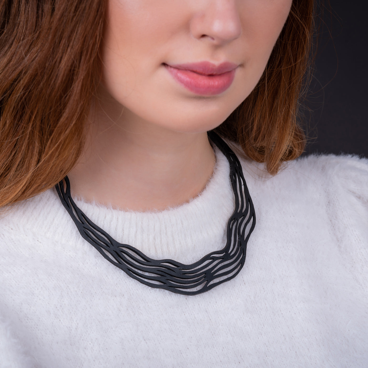 Flow Elegant Recycled Rubber Necklace by Paguro Upcycle