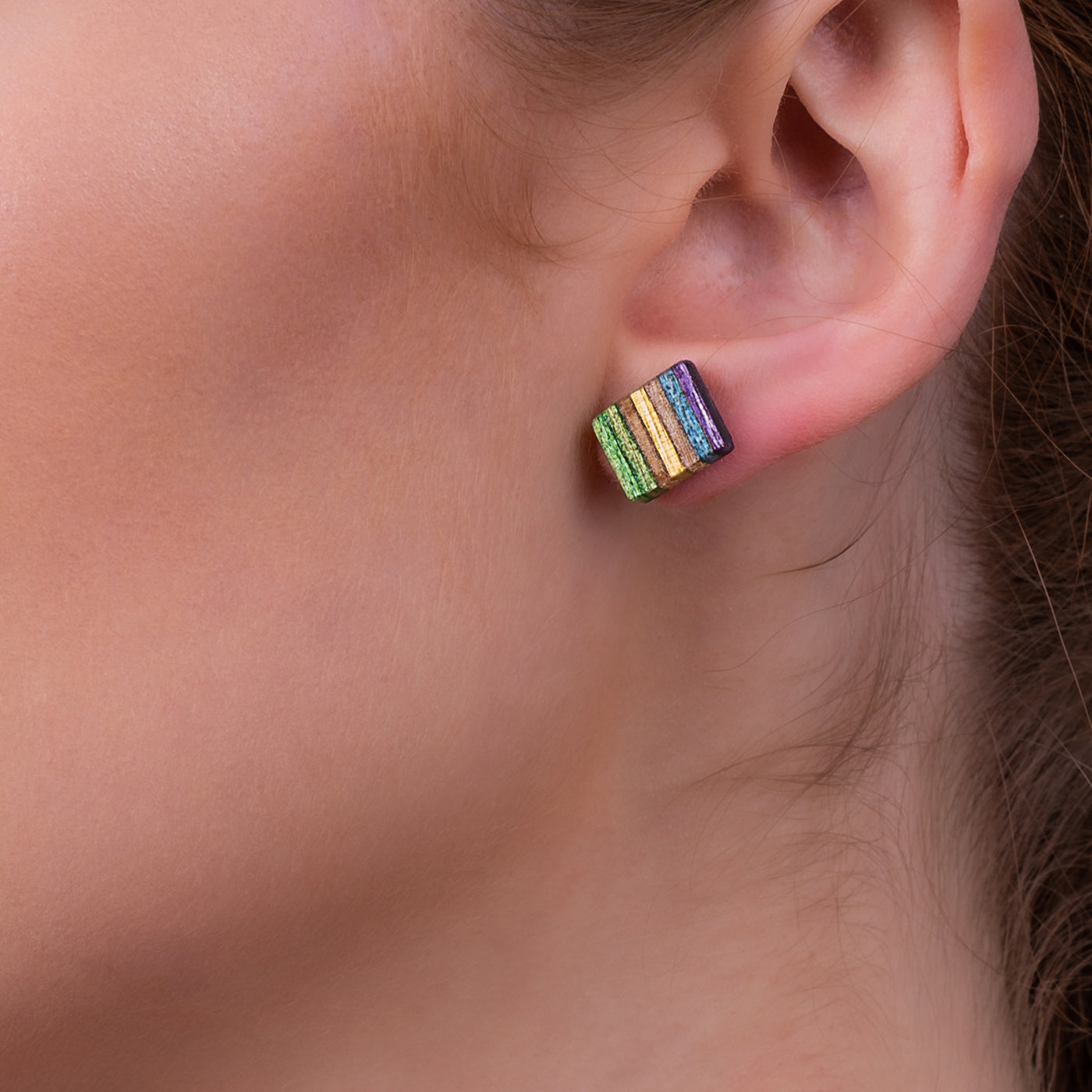 Square Recycled Skateboard Wood Stud Earrings