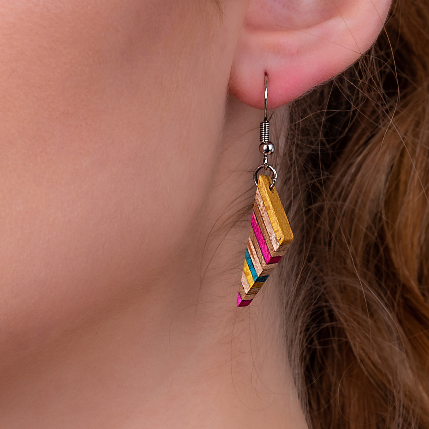 Soni Handmade Skateboard Wooden Earrings by Paguro Upcycle