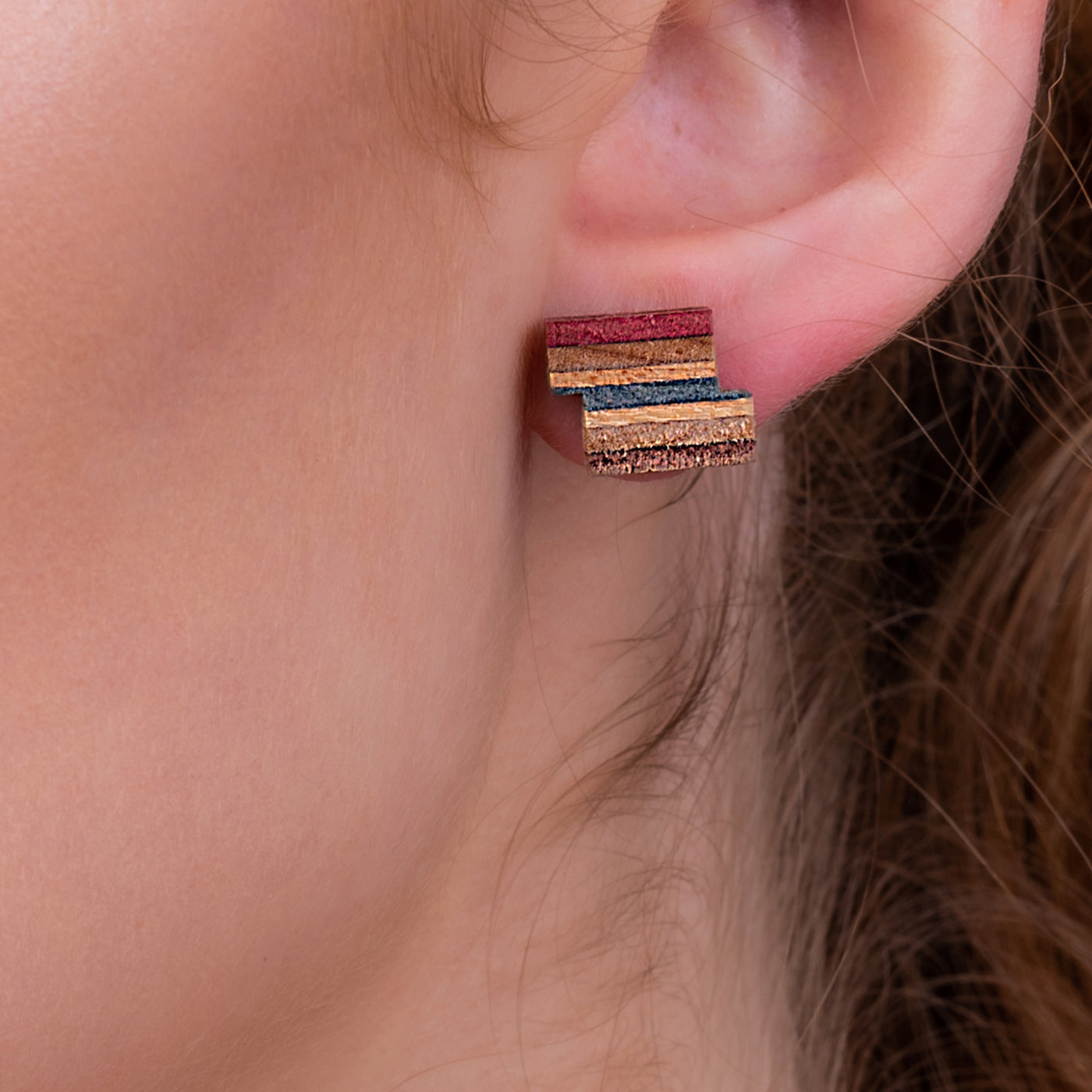 Zig Recycled Skateboard Stud Earrings by Paguro Upcycle