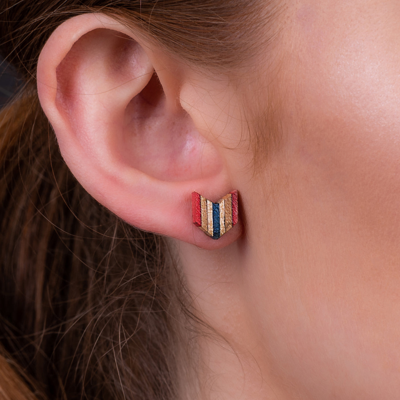Arrow Colourful Recycled Skateboard Stud Earrings by Paguro Upcycle