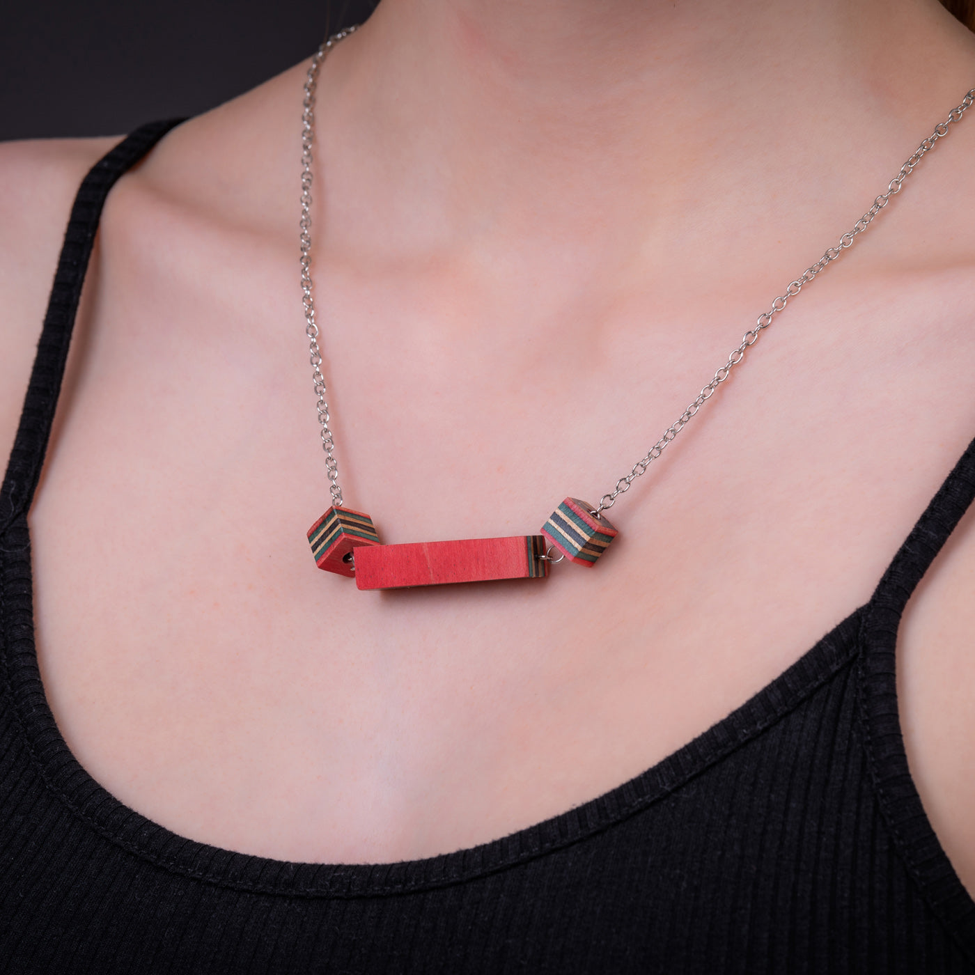 Recta Recycled Skateboard Necklace