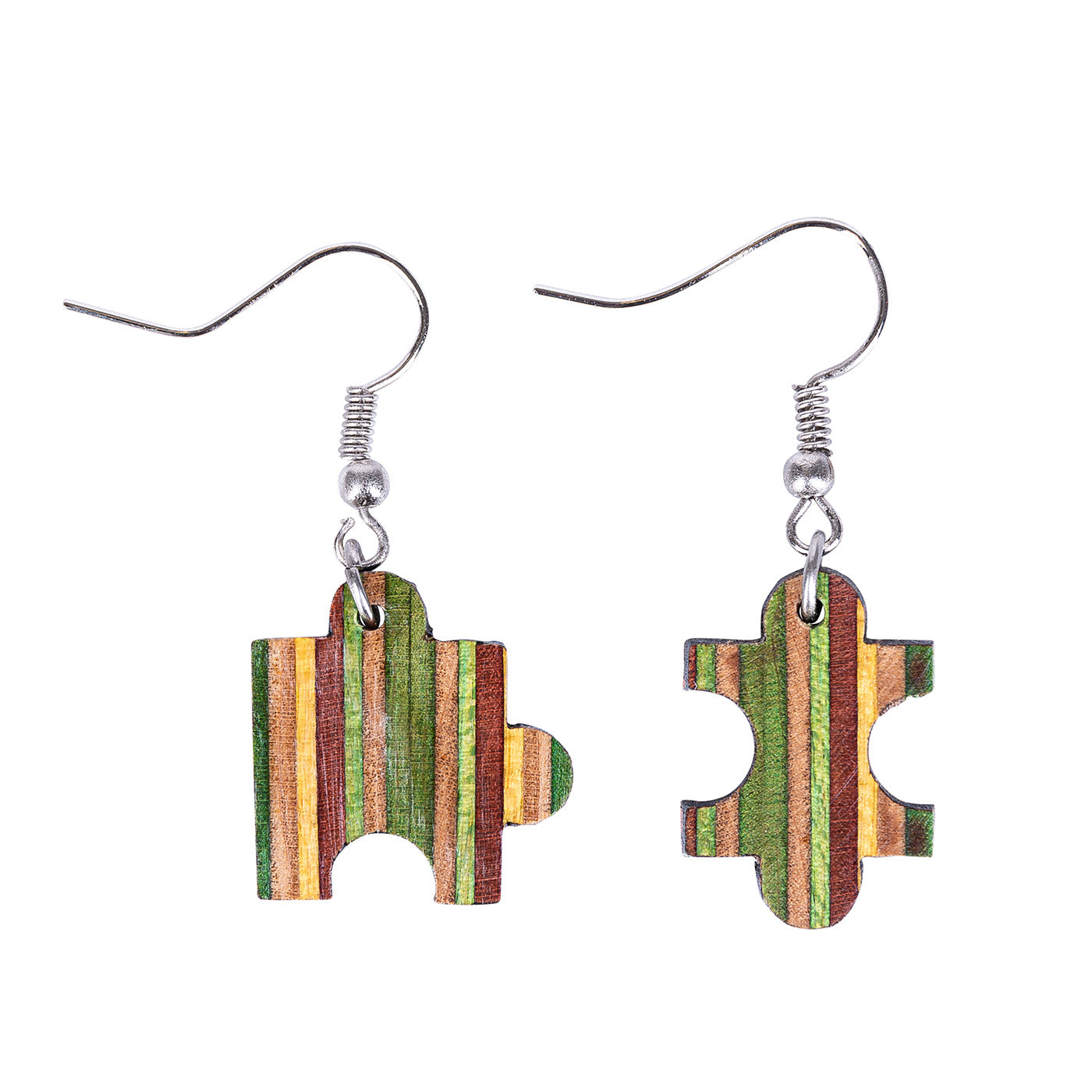 Jigsaw Recycled Skateboard Earrings