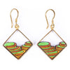 Rice Terrace Eco-friendly Recycled Wood Gold Earrings by Paguro Upcycle