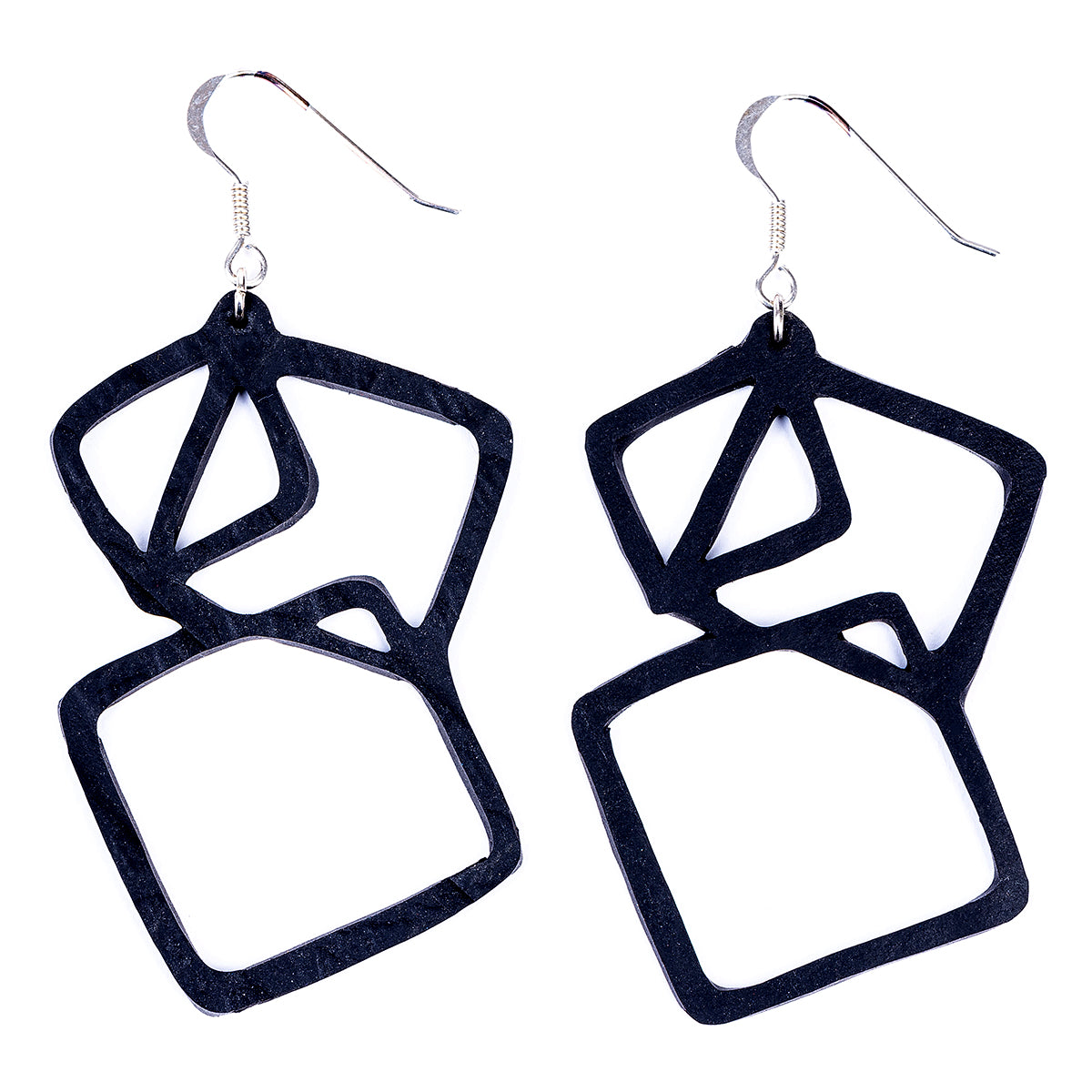 Belinda Geometric Recycled Rubber Earrings by Paguro Upcycle
