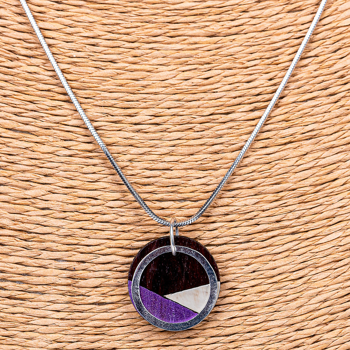 Conture Recycled Wood Silver Necklace (6 Colours available)