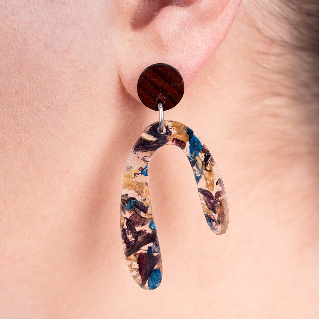 Aspen U Shaped Statement Resin Earrings