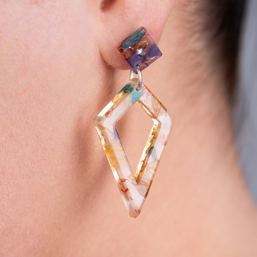 Trixie Elegant Statement Resin Earrings by Paguro Upcycle