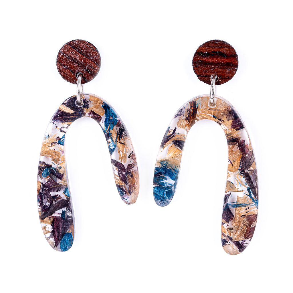 Aspen U Shaped Statement Resin Earrings by Paguro Upcycle