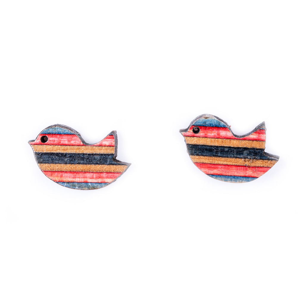 Robin Little Bird Recycled Skateboard Stud Earrings by Paguro Upcycle