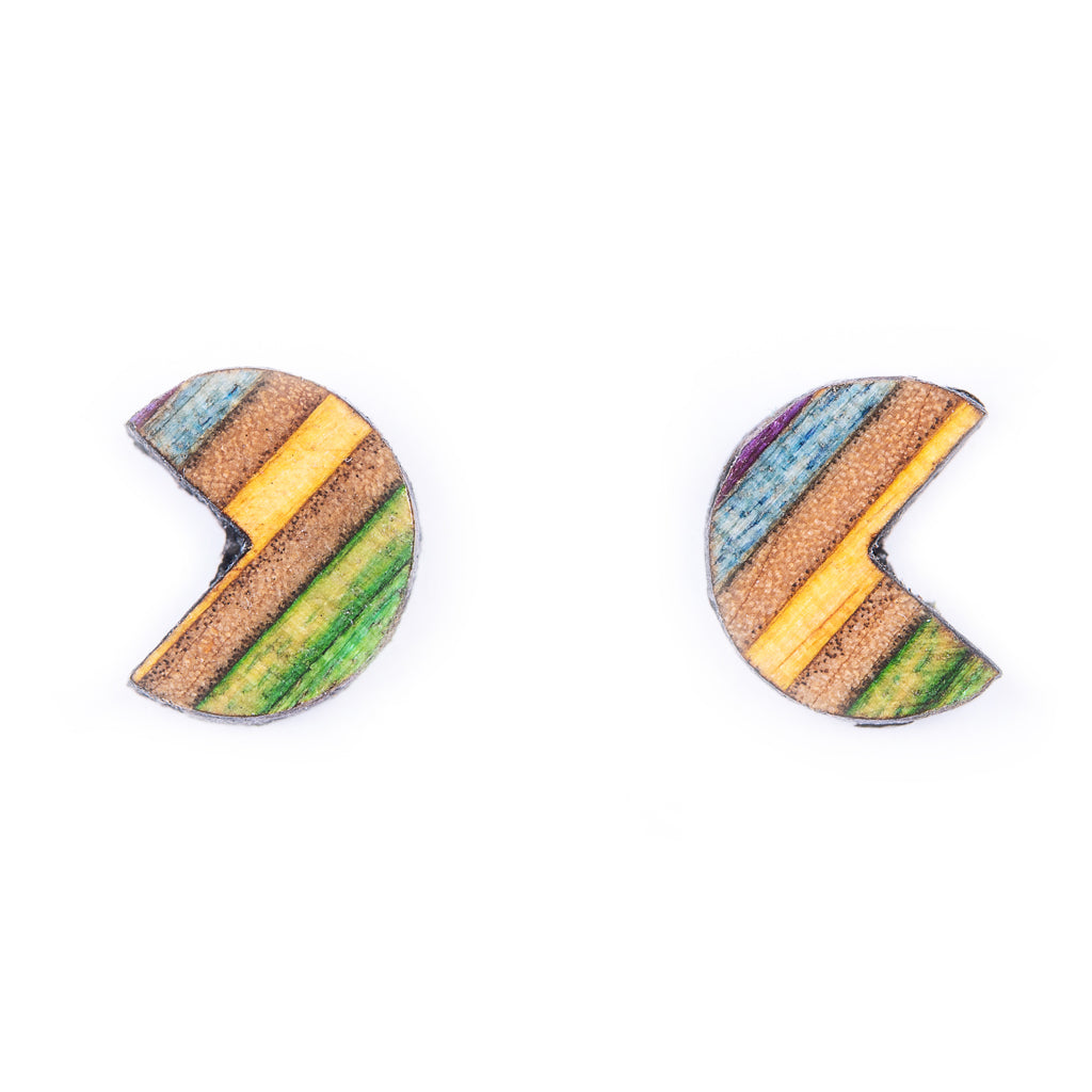 Pac Recycled Skateboard Stud Earrings