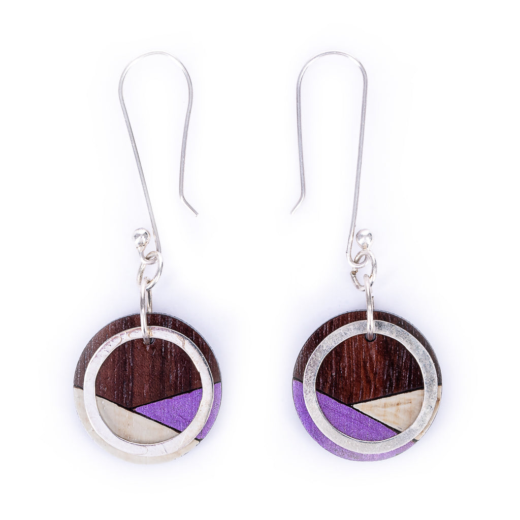Conture Recycled Wood Silver Dangle Earrings (6 Colours) by Paguro Upcycle