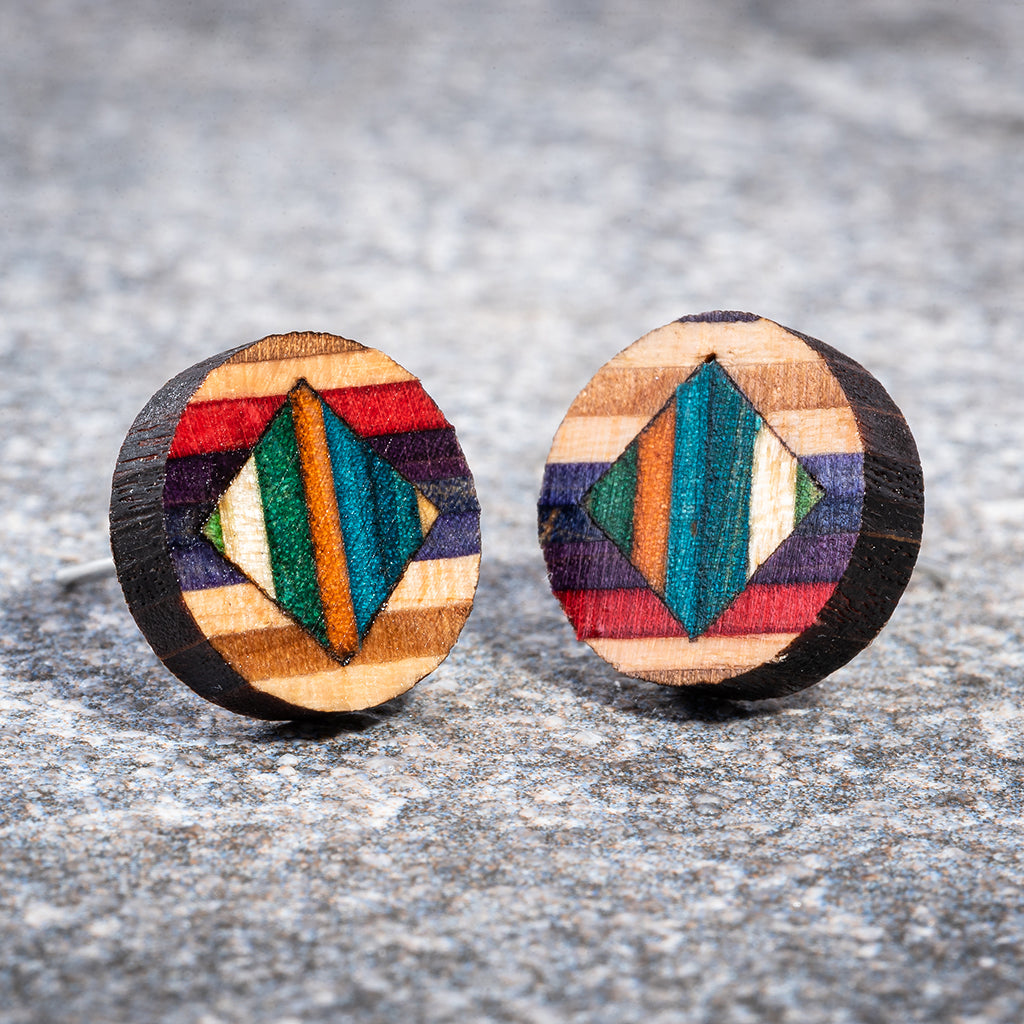 Roundmix Recycled Skateboard Stud Earrings by Paguro Upcycle