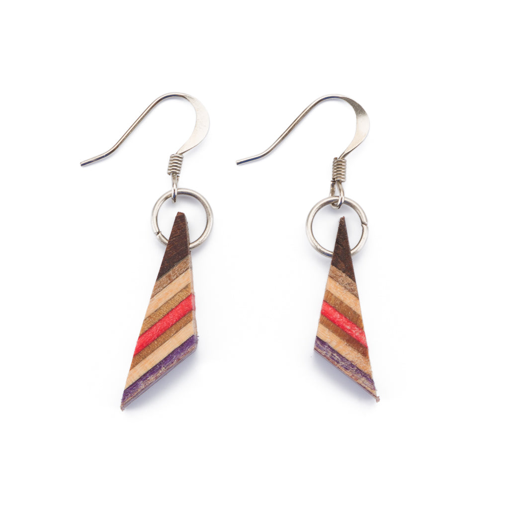 Sono Triangle Wood Dangle Earrings by Paguro Upcycle