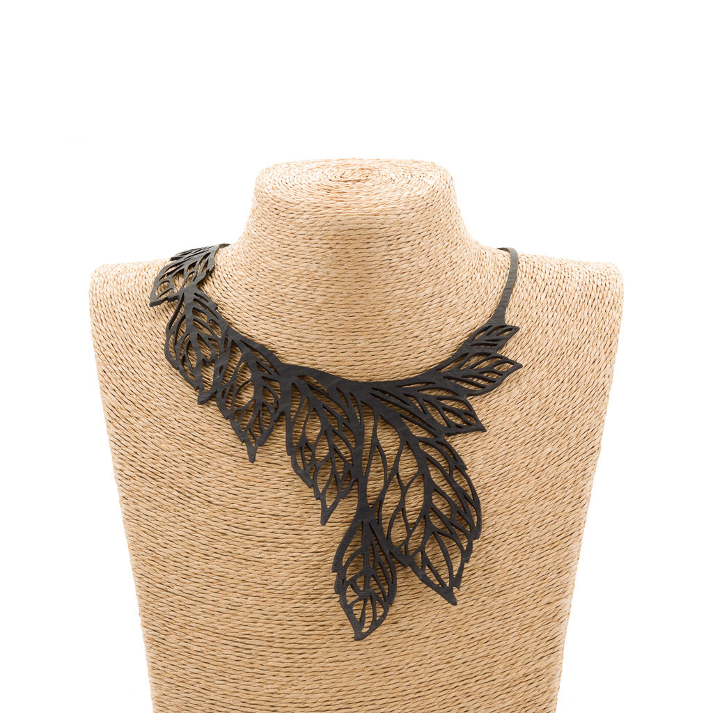 Handmade leaf necklace made from upcycled inner tubes