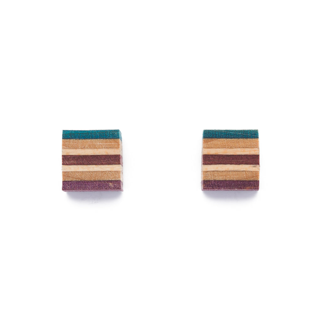 Square Recycled Skateboard Wood Stud Earrings by Paguro Upcycle