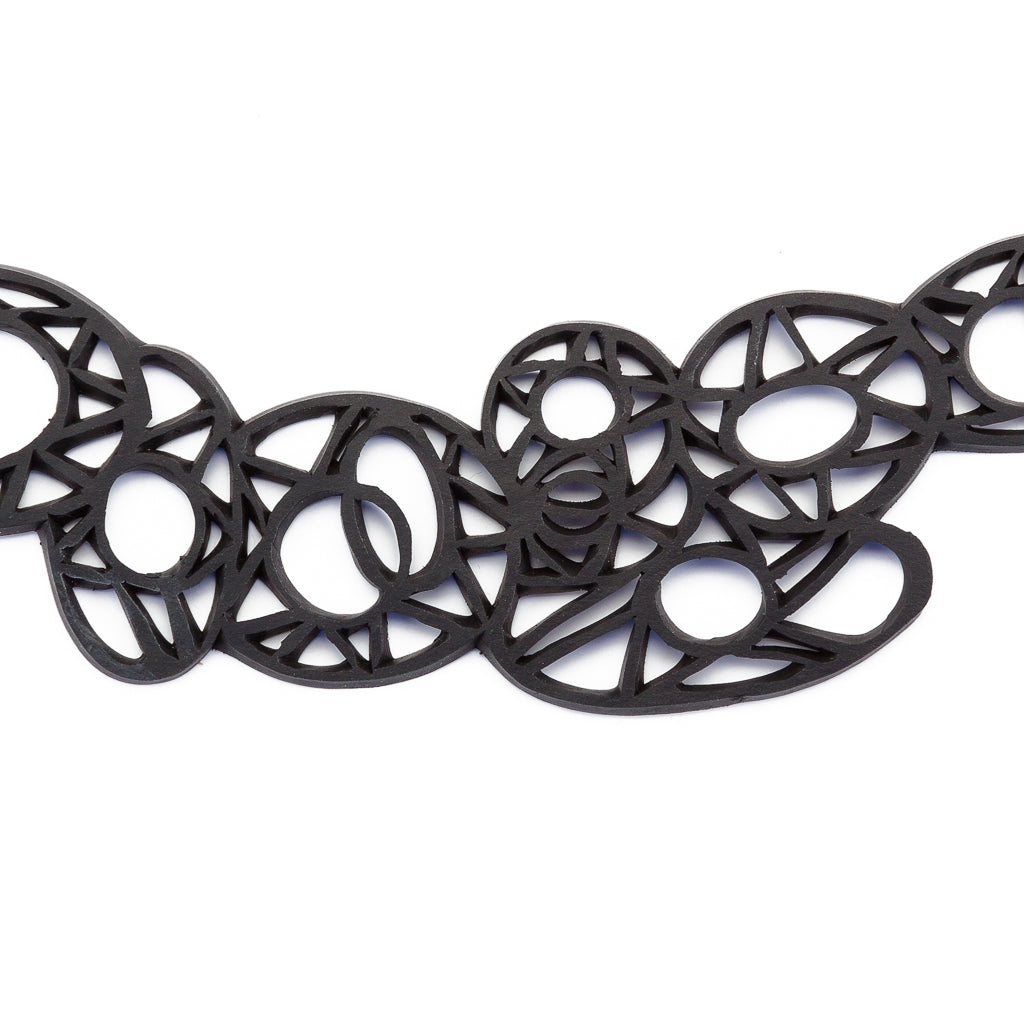 Stellar Geometric Rubber Choker Necklace by Paguro Upcycle