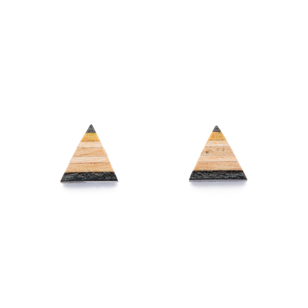 Triangle Recycled Skateboard Stud Earrings by Paguro Upcycle