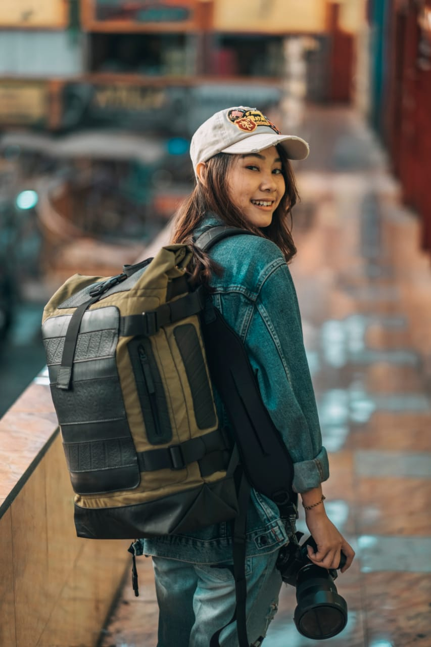 Waterproof Roll Top Vegan Backpack by Paguro Upcycle