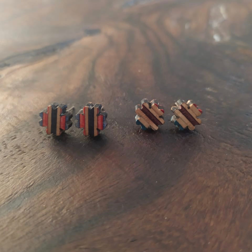 Clover Recycled Skateboard Stud Earrings by Paguro Upcycle