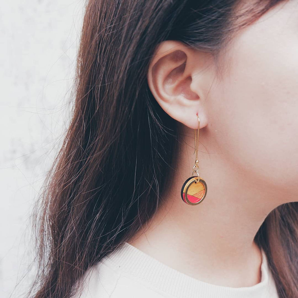 Conture Recycled Wood Gold Dangle Earrings (4 Colours available) by Paguro Upcycle