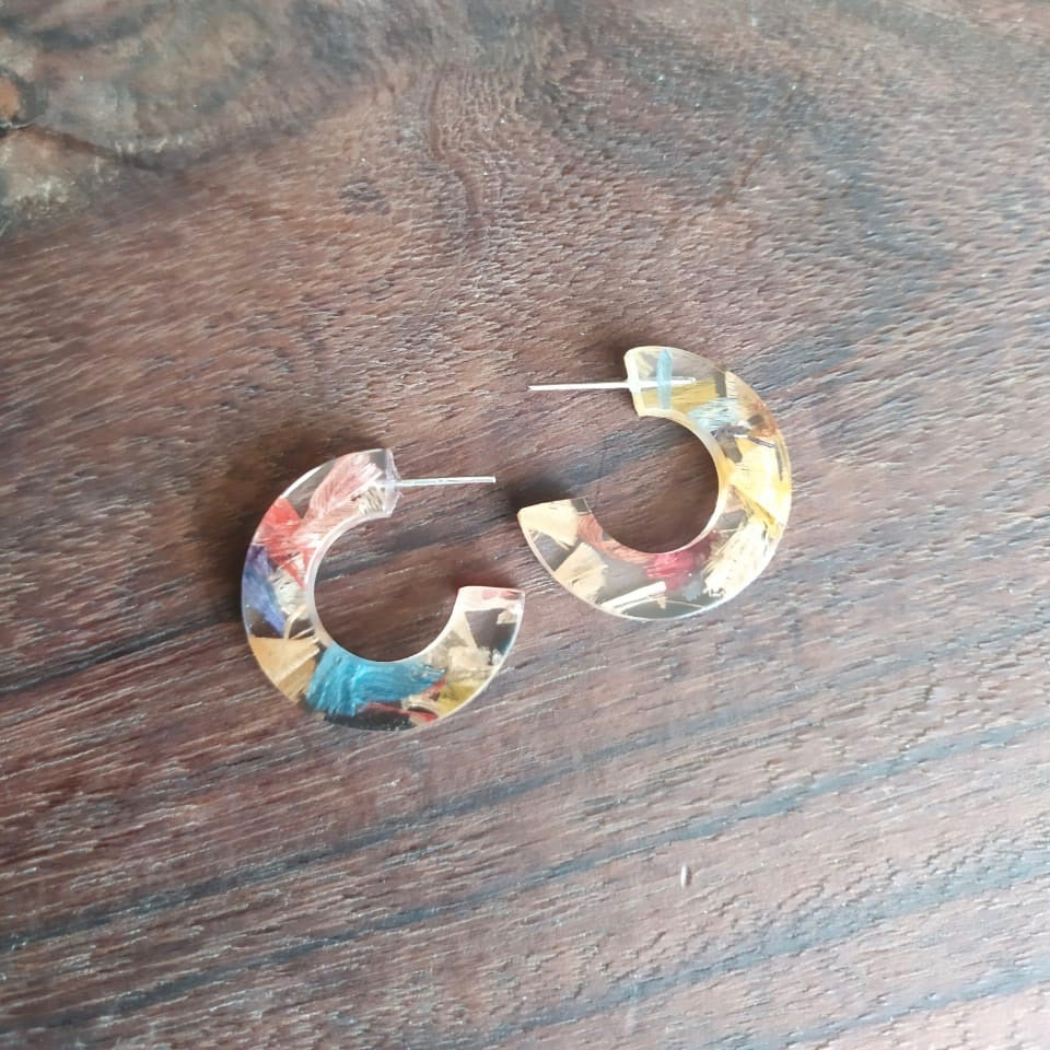 Quartilla Eco Friendly Resin Hoop Earrings by Paguro Upcycle