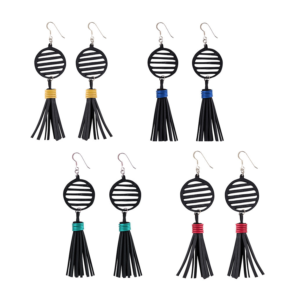 Lunar Upcycled Rubber Tassel Earrings by Paguro Upcycle