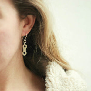 Lone Rider Bike Chain Earrings by Paguro Upcycle
